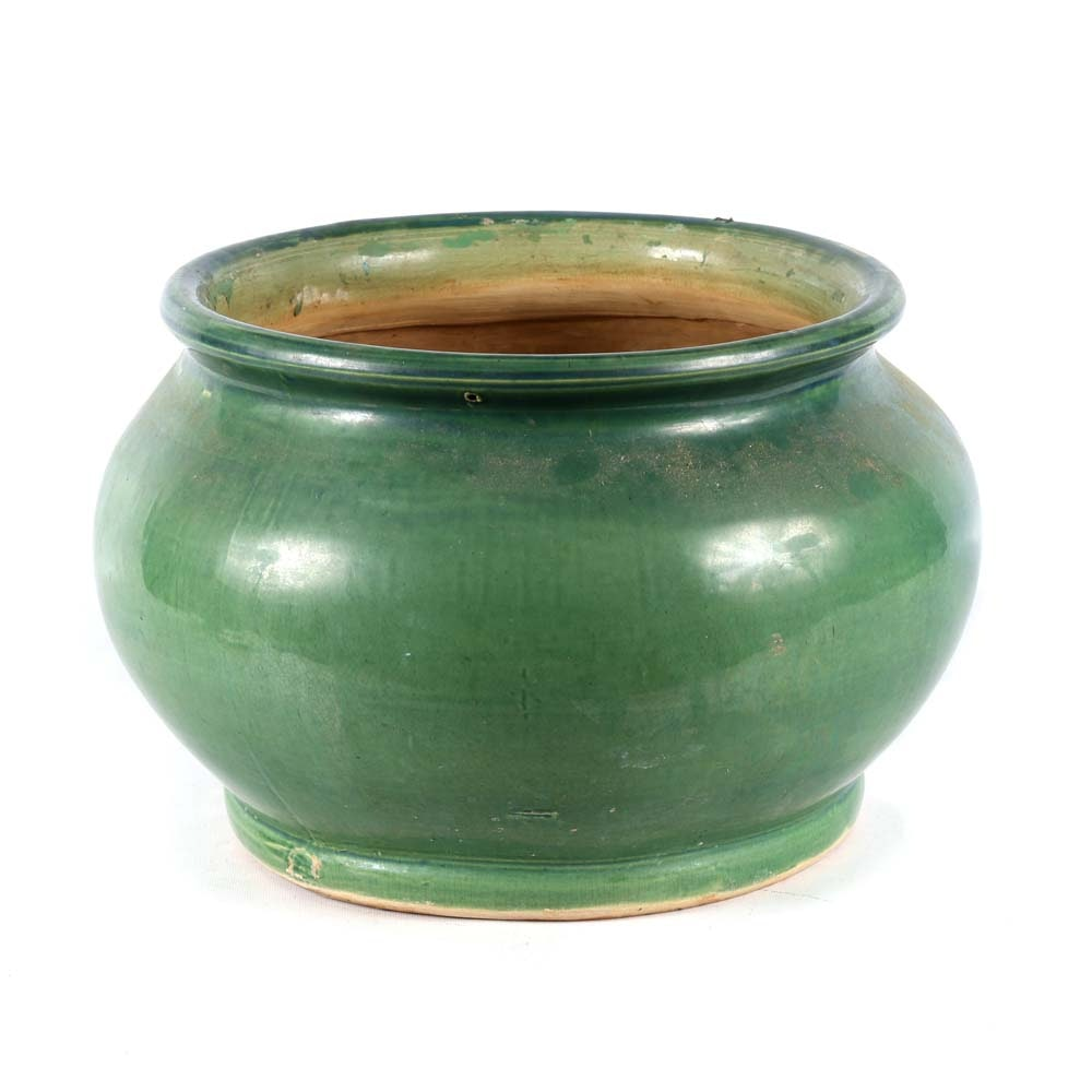 Large Green Glazed Ceramic Jardiniere