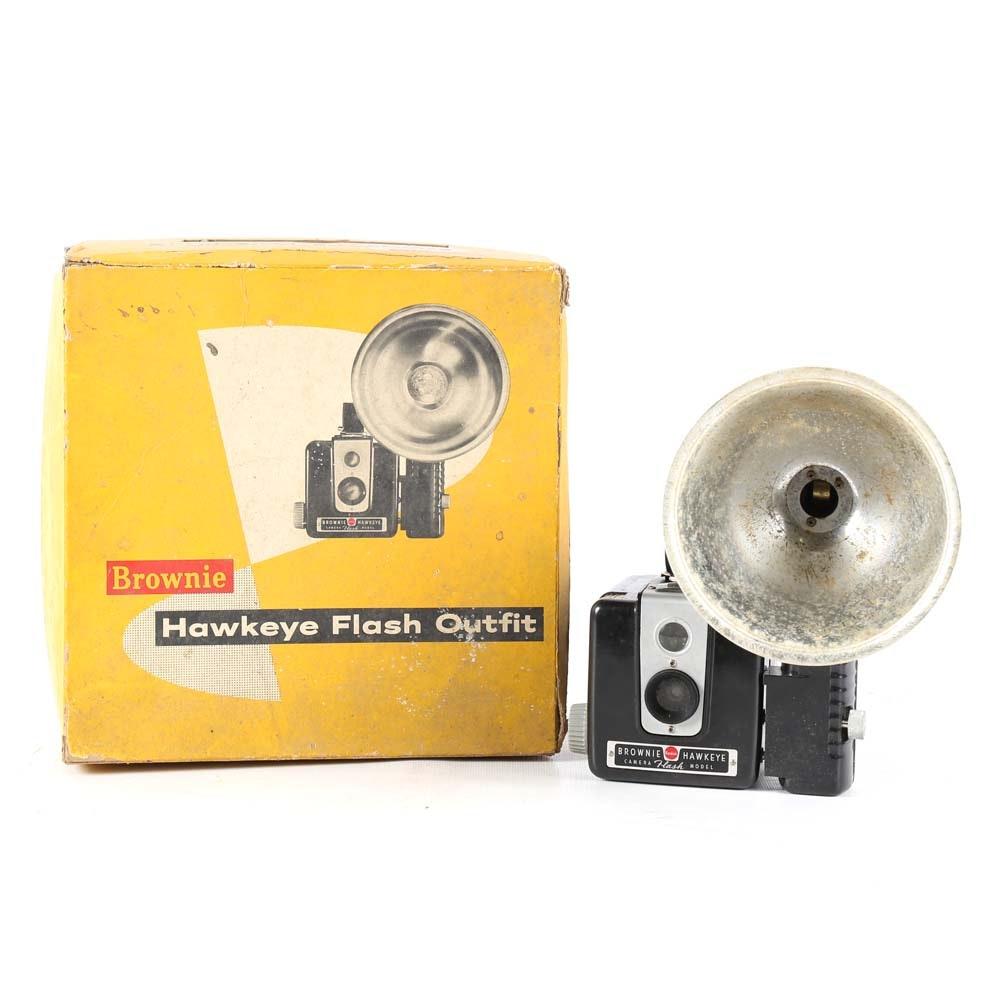 Vintage Kodak Brownie Hawkeye Camera with Flash
