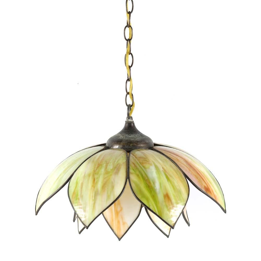 Vintage Tulip Slag Glass Pendant Light Fixture