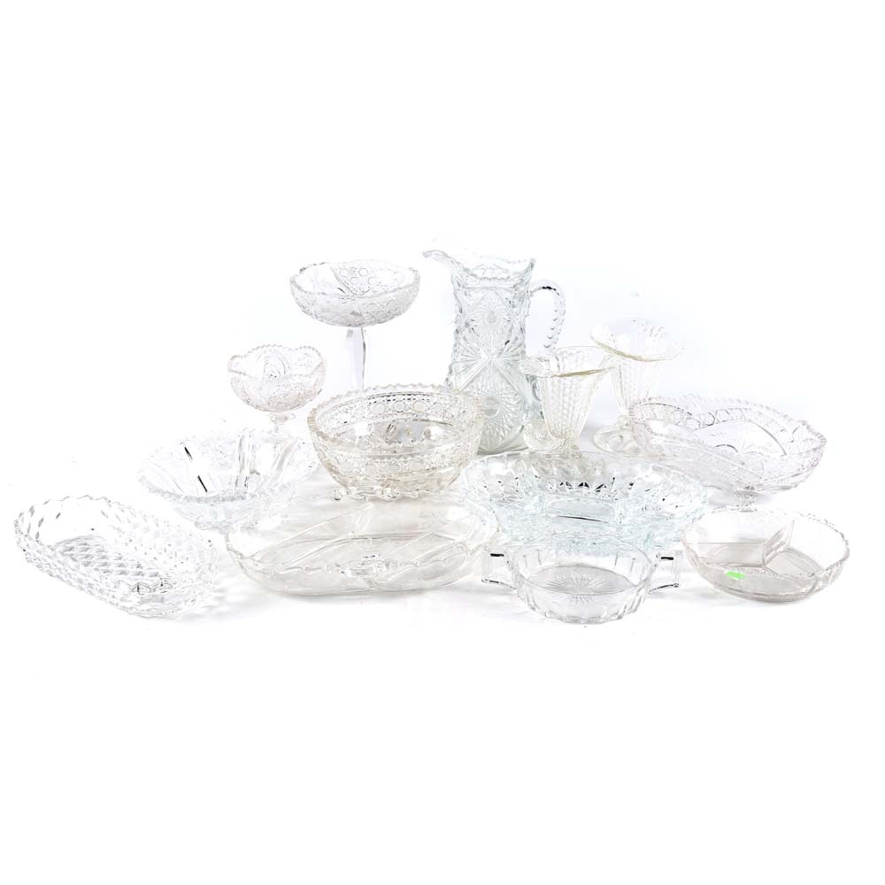 Vintage Glass Tableware and Decor