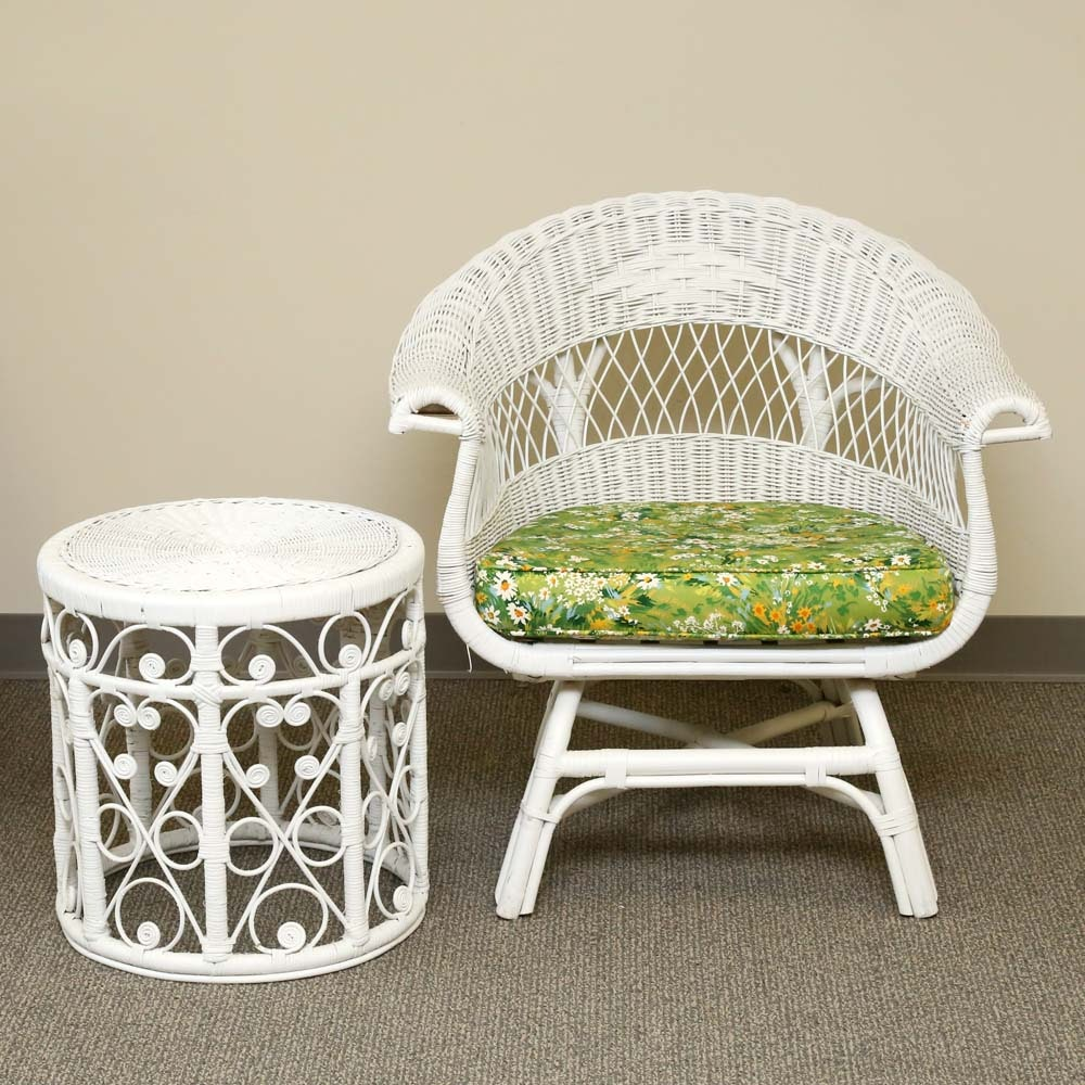 Vintage Wicker Armchair and Curly Cane Side Table