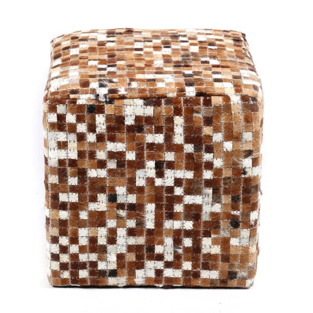 Contemporary Cowhide Cube Pouf
