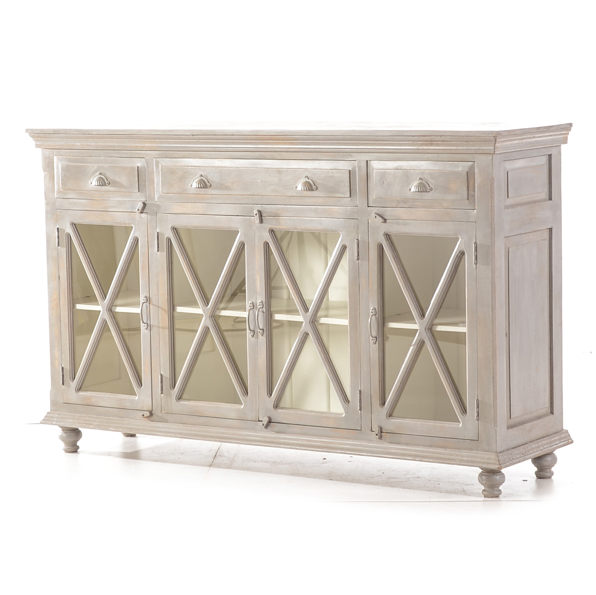 Contemporary Wood Media Cabinet with Antiqued Grey Finish
