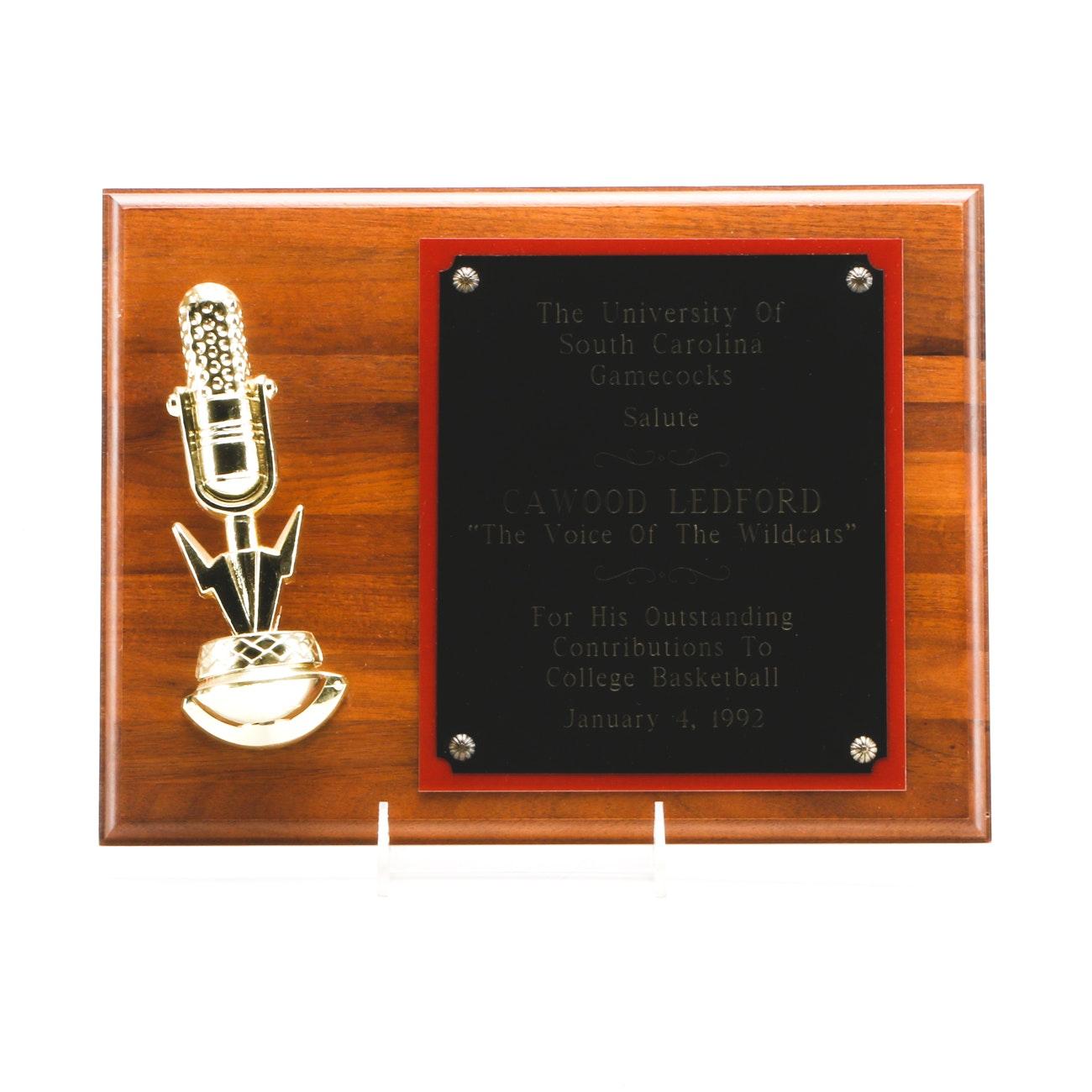 1992 University Of South Carolina Basketball Award To Cawood Ledford