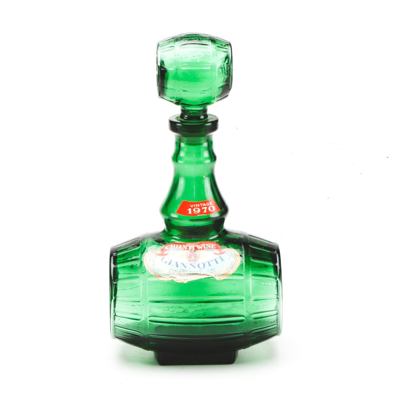 Vintage Green Glass Barrel Shaped Giannotti Chianti Decanter