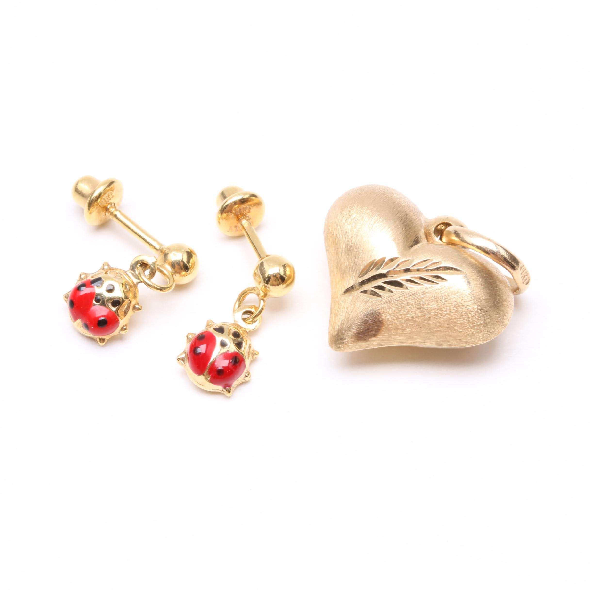 14K Yellow Gold Puffed Heart Charm and Enameled Ladybug Baby Earrings