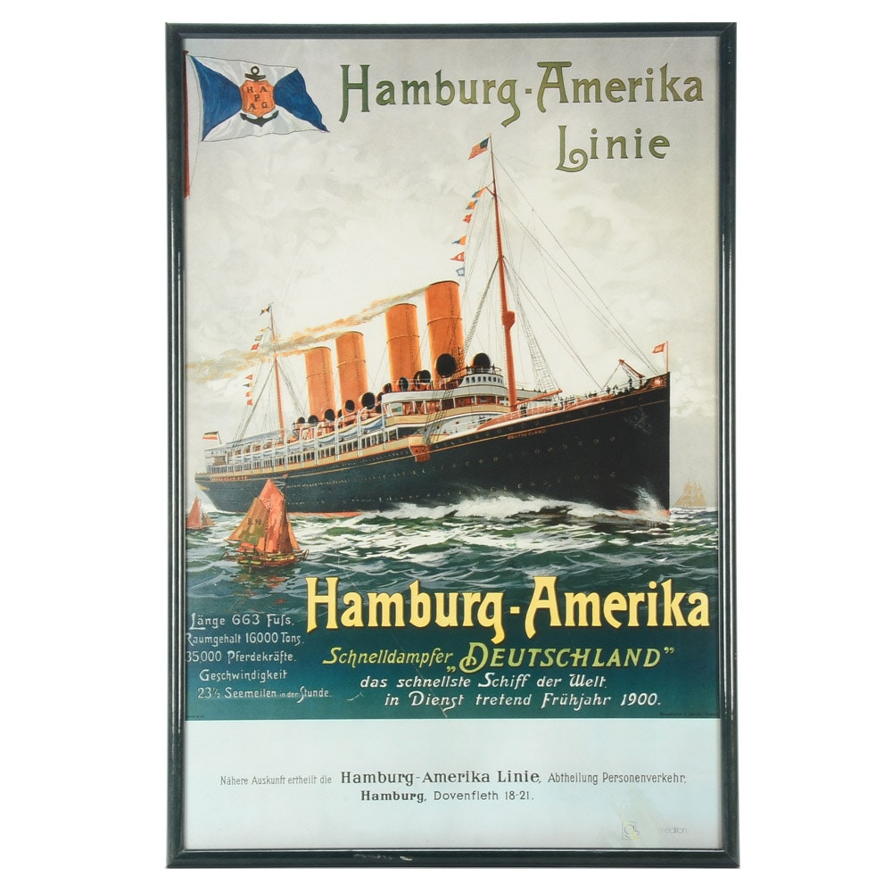 Offset Lithograph after Antique Travel Poster for Hamburg-Amerika Linie