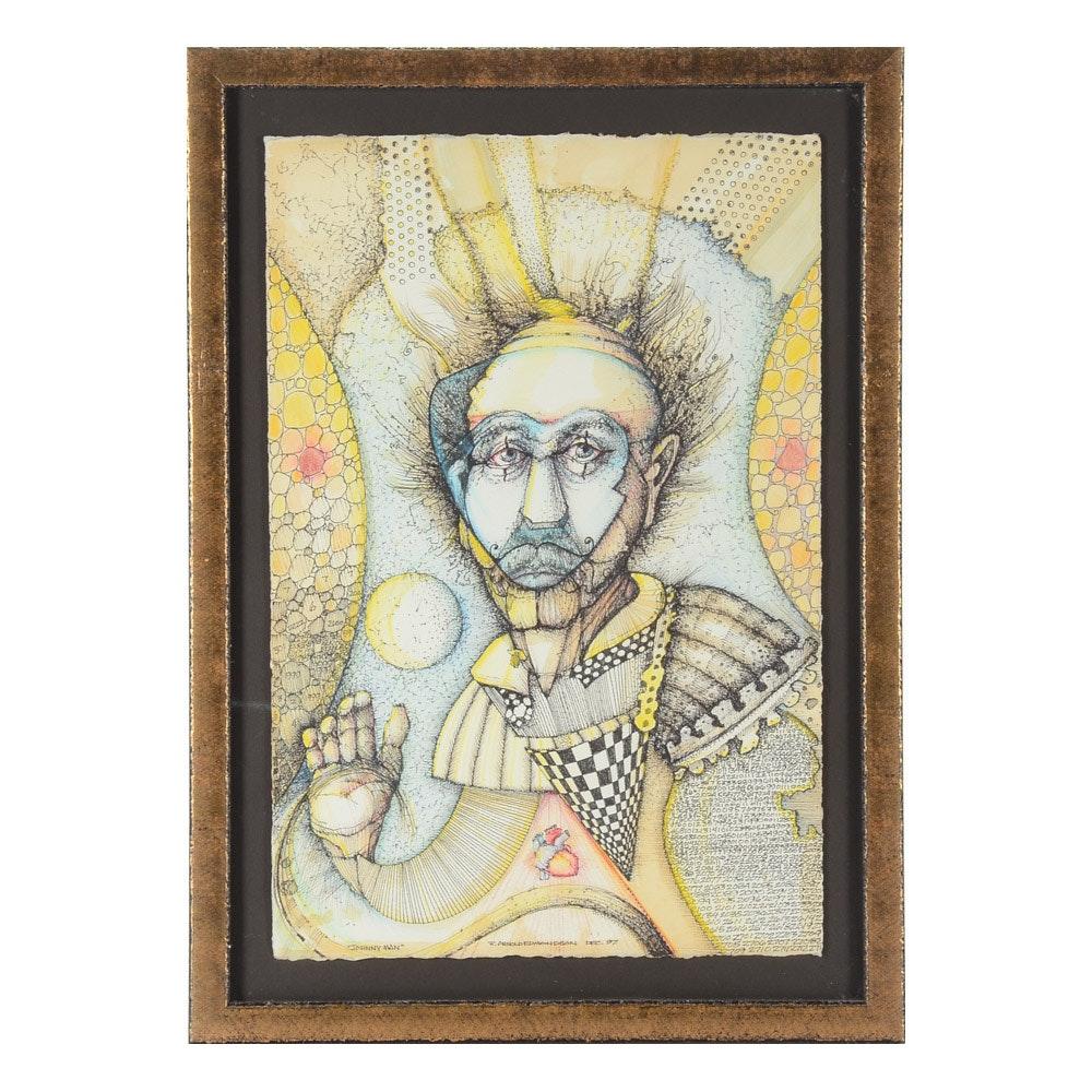 "R. Arnold Edmondson Original Ink and Watercolor on Paper ""Johnny Man"""