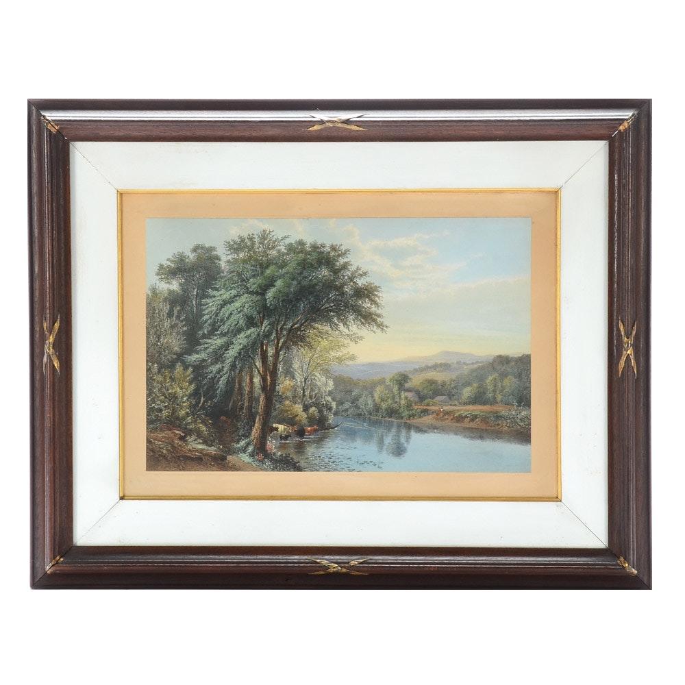 Antique Hand-colored Lithograph of Bucolic Landscape