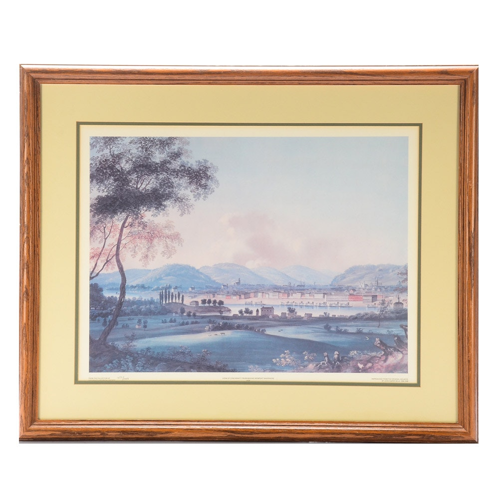 "Limited Edition Offset Lithograph after John Casper Wild ""View of Cincinnati"""