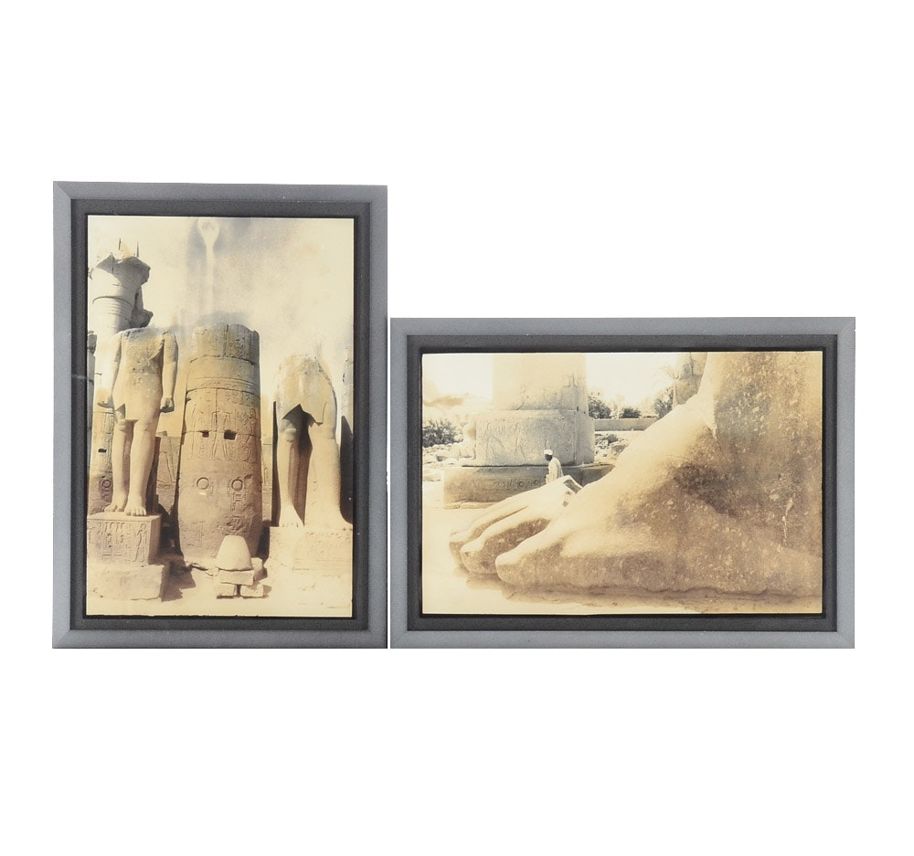 Two Sepia Toned Photographs of Temple at Karnak, Egypt