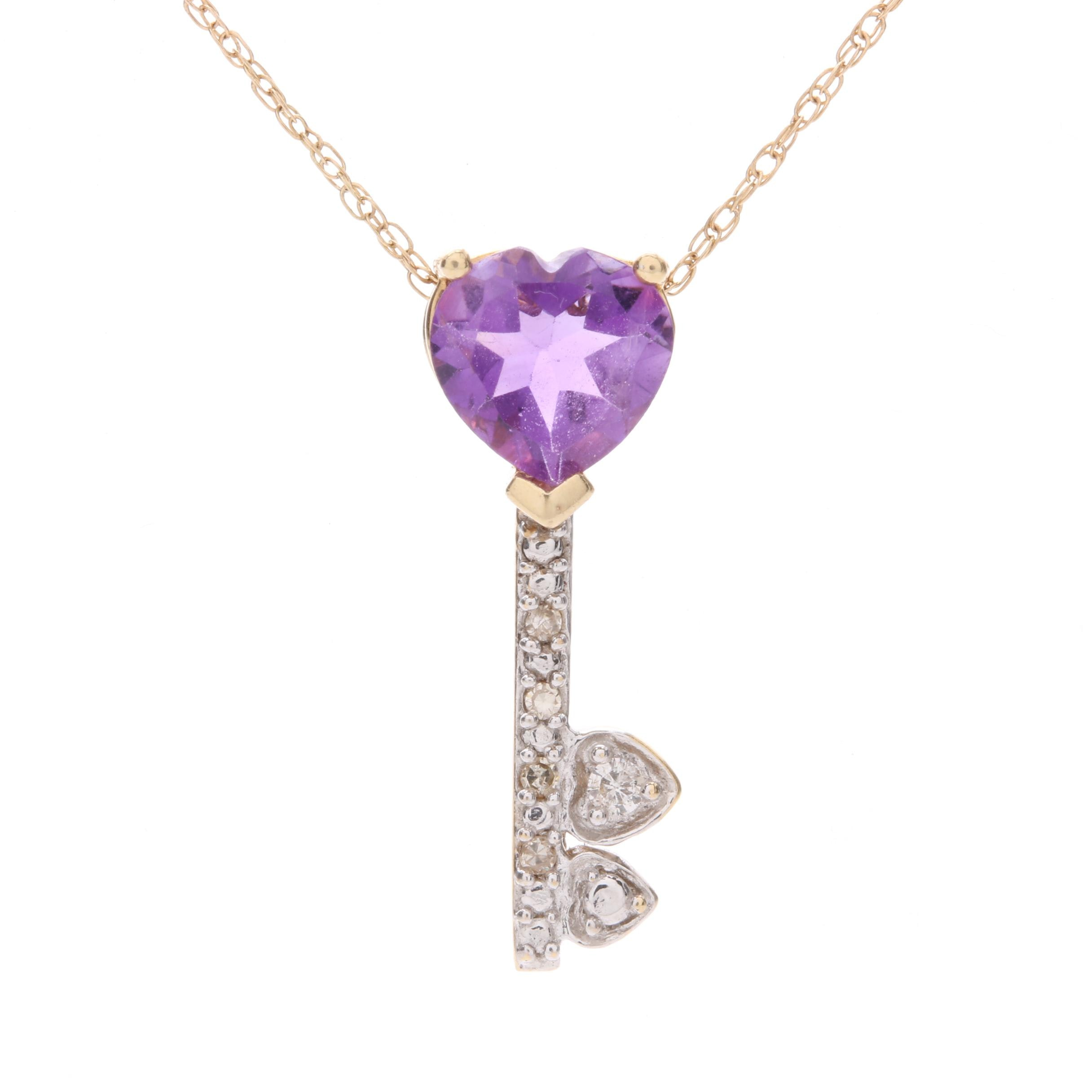 14K Yellow Gold Amethyst and Diamond Pendant Necklace with White Gold Accents