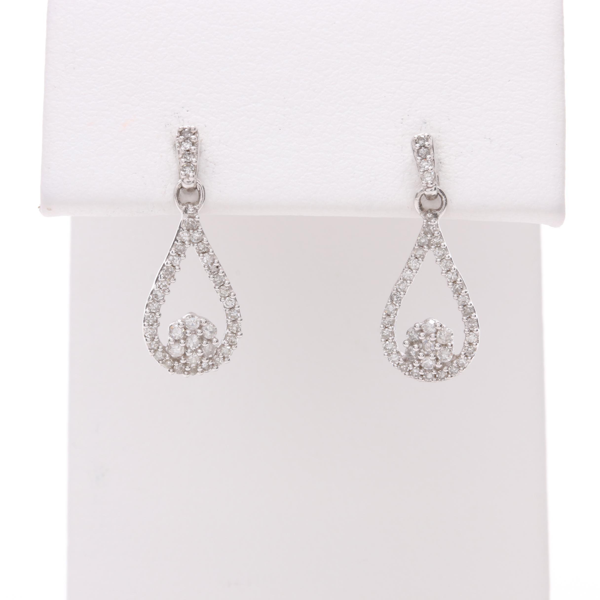 10K White Gold Diamond Earrings with 14K White Gold Backs