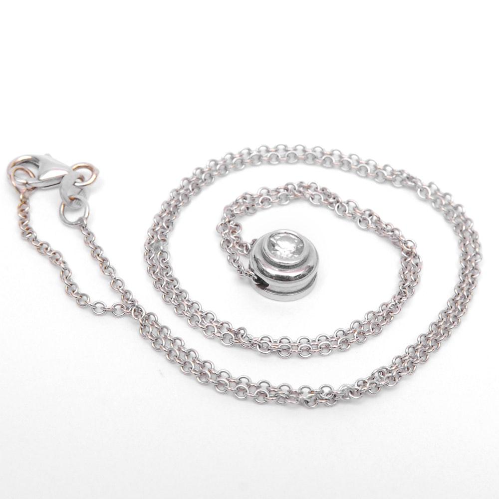 14K White Gold Diamond Pendant on an 18K White Gold Chain Necklace