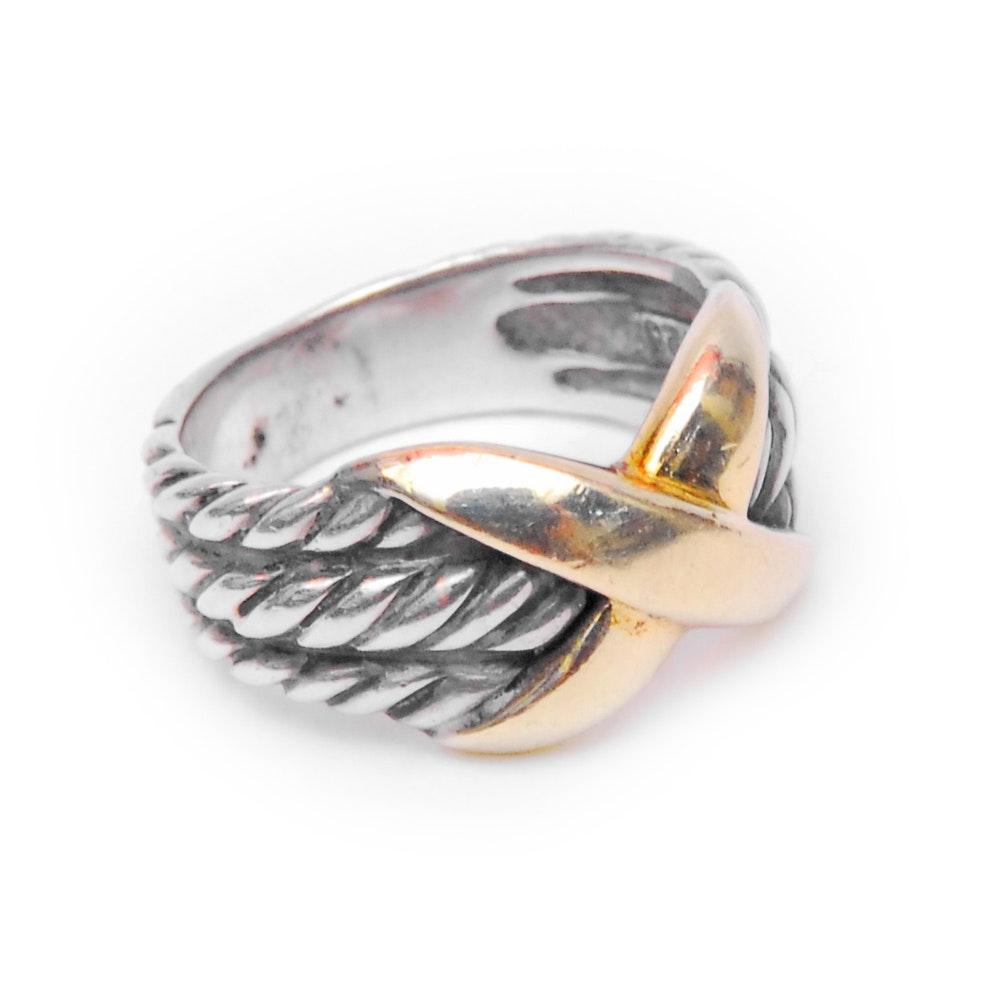 David Yurman 14K Yellow Gold and Sterling Silver X Ring