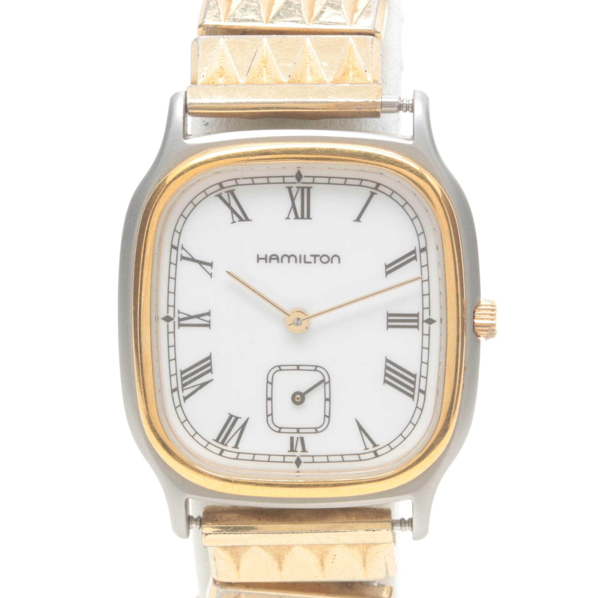 Hamilton Gold Tone Wristwatch with Silver Tone Accents