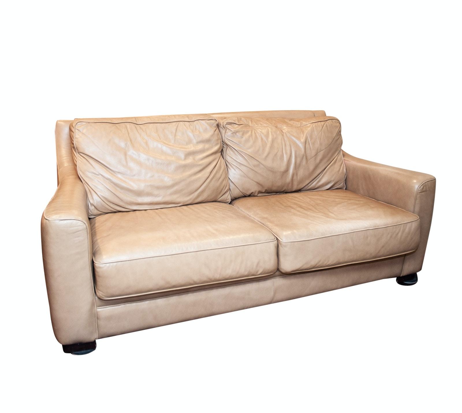 Sofa Express Tan Leather Sofa