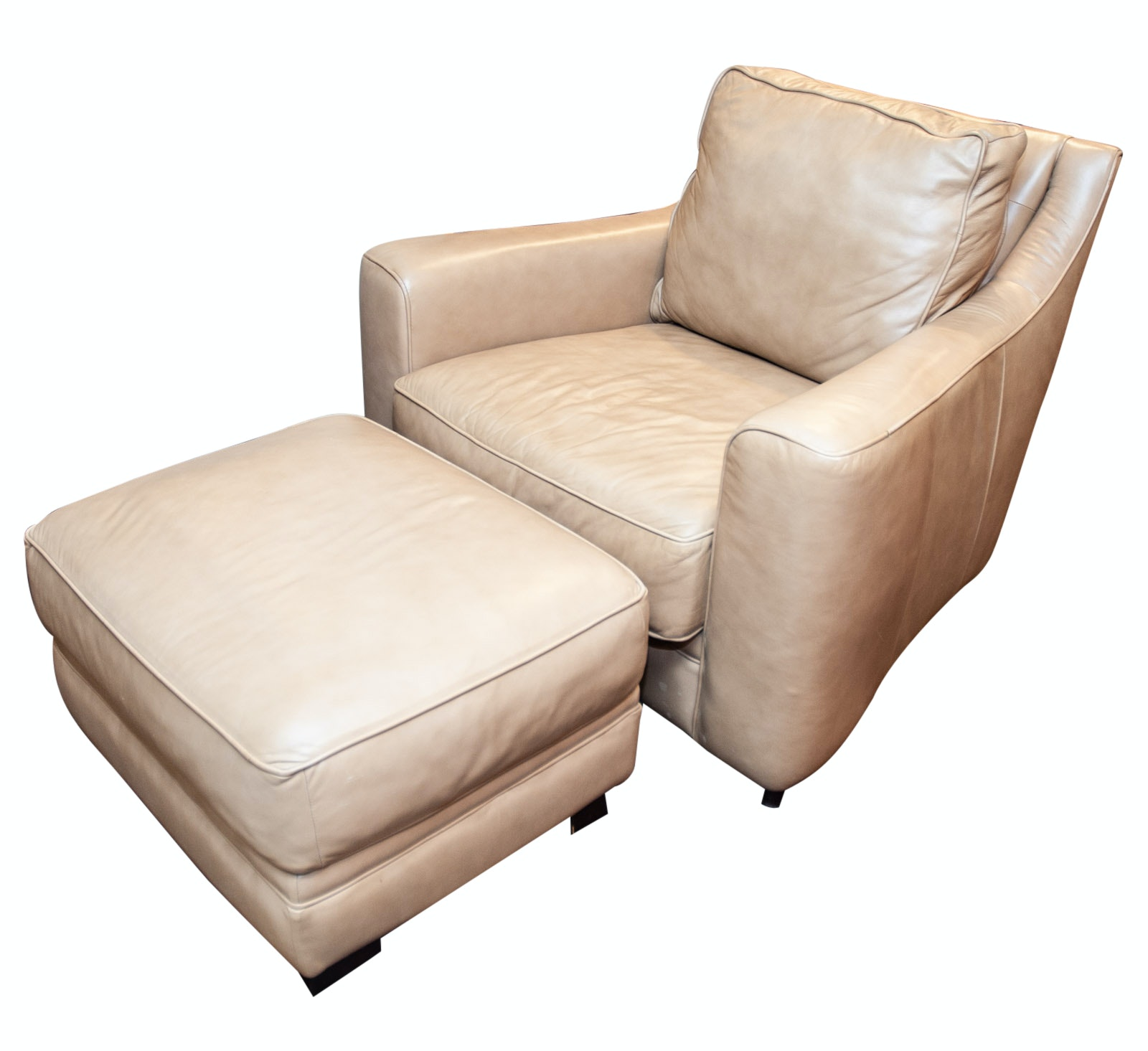 Sofa Express Tan Leather Armchair and Ottoman