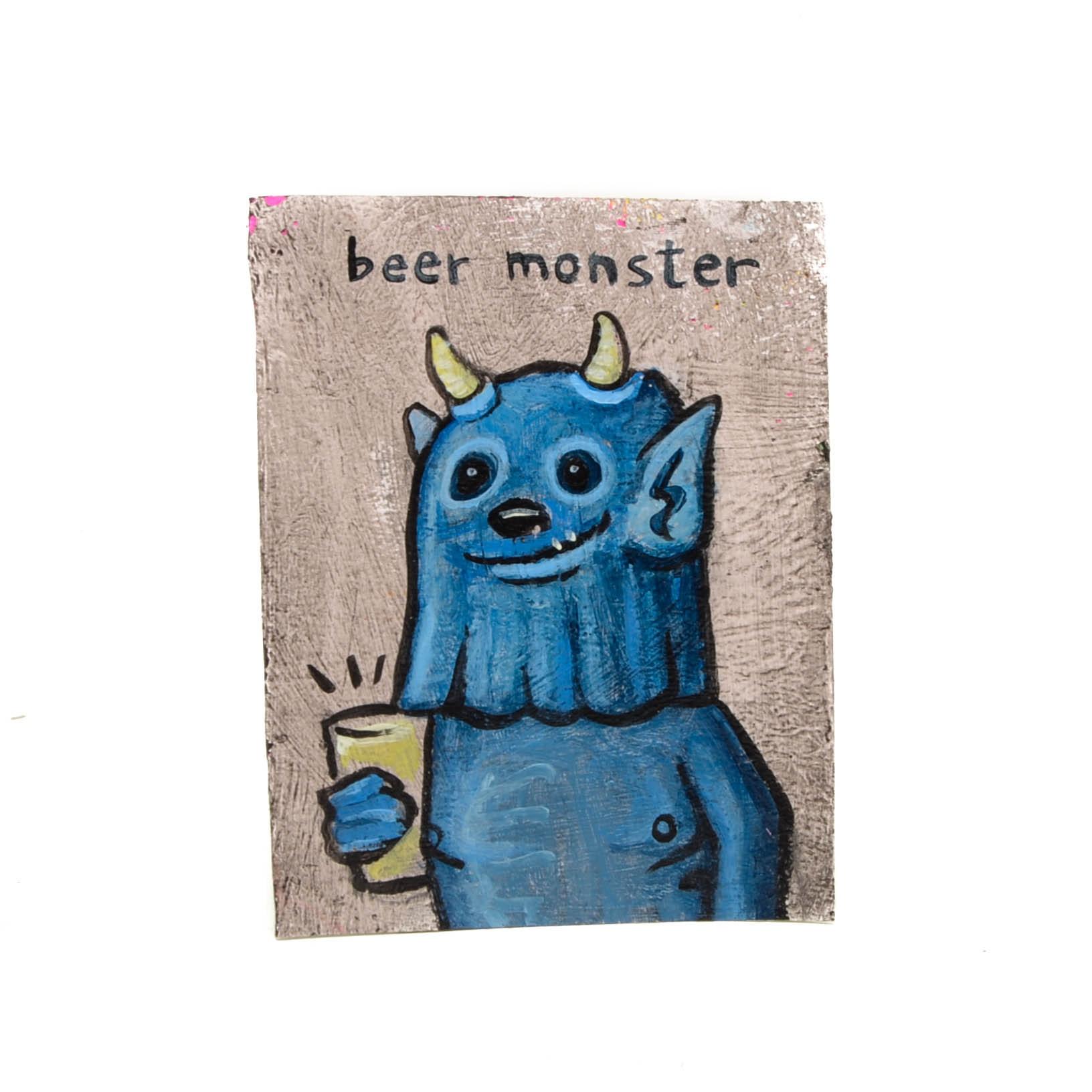 """N. Scott Carroll Outsider Pop Art Painting """"Beer Monster"""""""