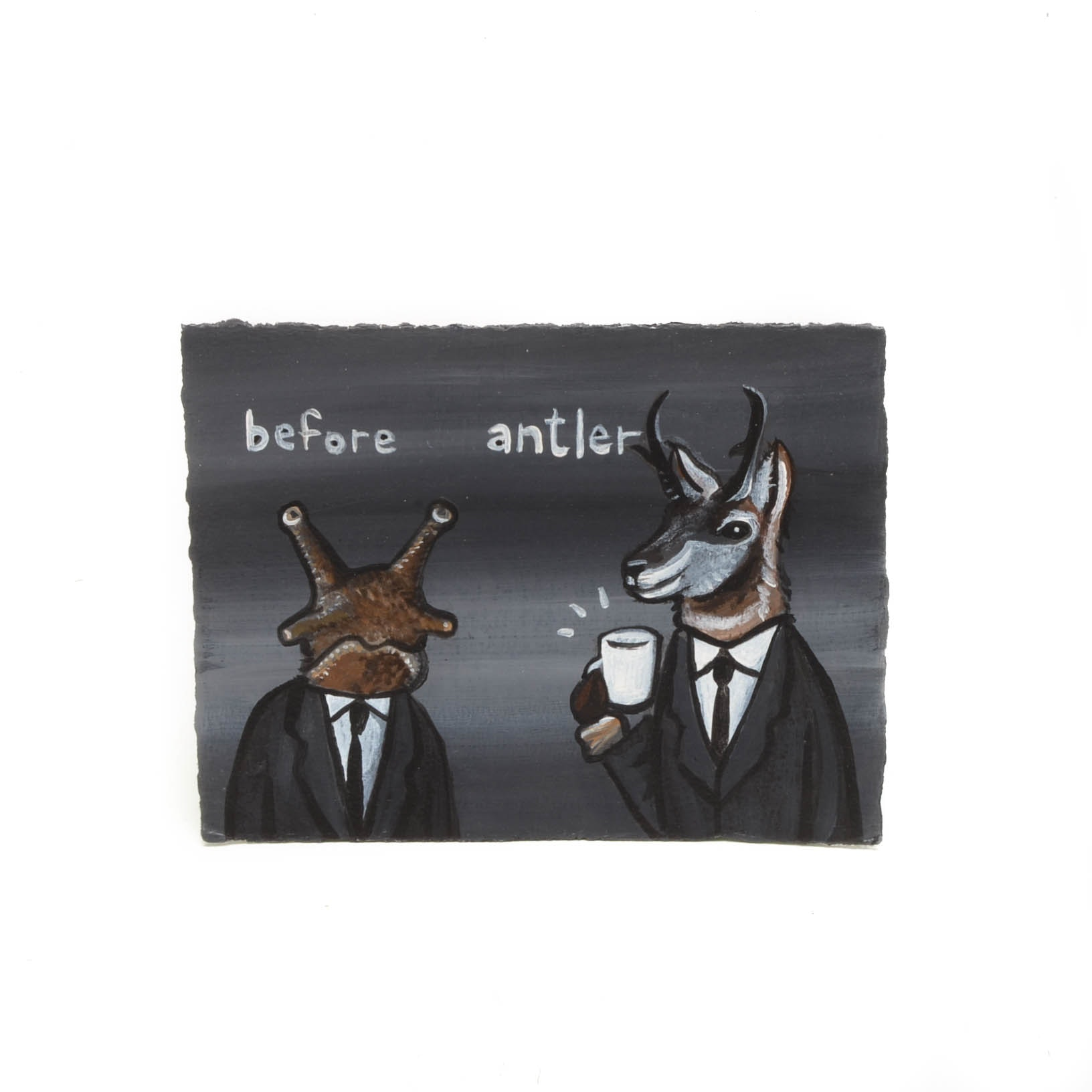 """N. Scott Carroll Outsider Pop Art Painting """"Before After Coffee"""""""