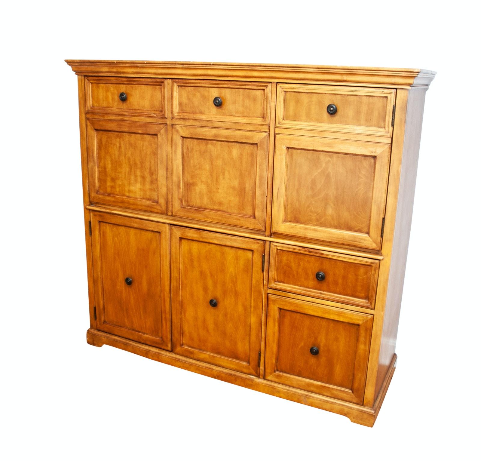 Oak Cabinet with Slanted Desk