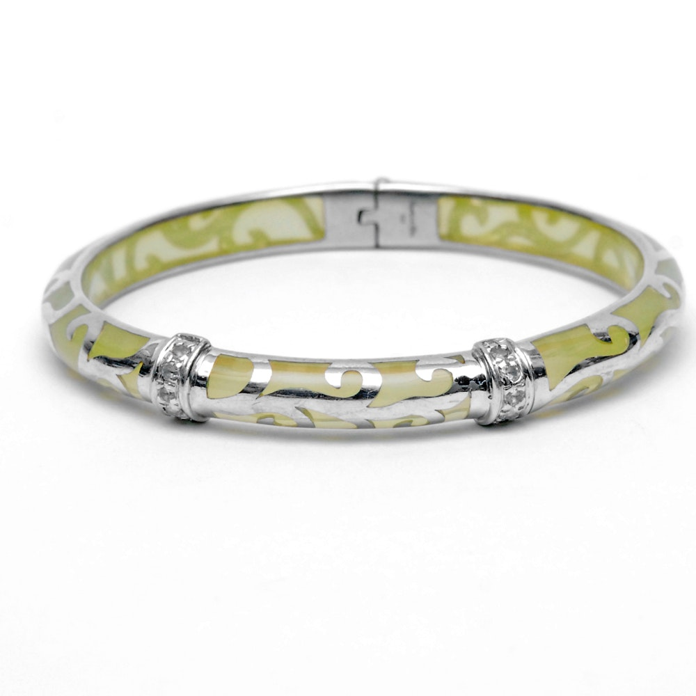 Angelique De Paris Palmetto Sterling Silver Resin Bangle