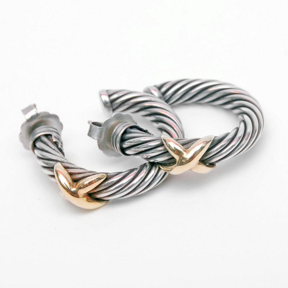 David Yurman 14K Yellow Gold and Sterling Silver Hoop Earrings