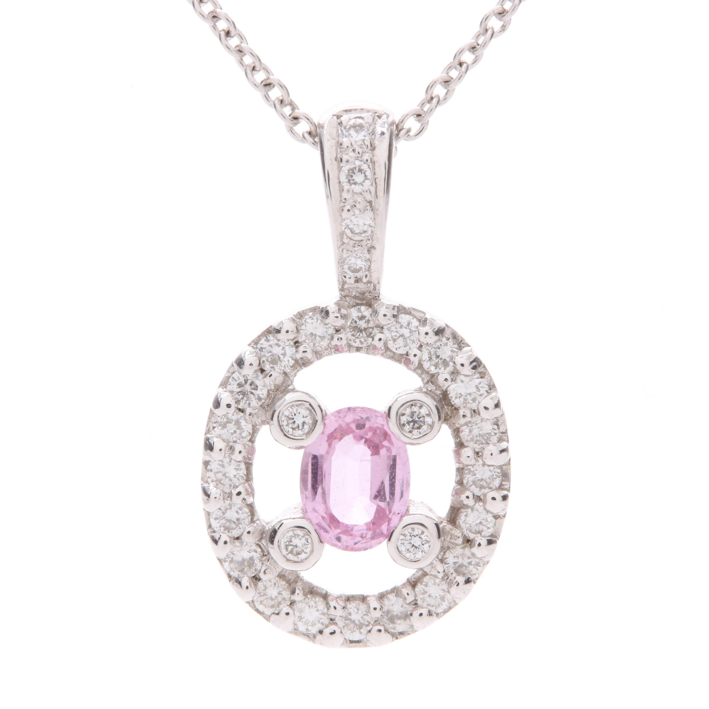 14K White Gold Pink Sapphire and Diamond Pendant Necklace