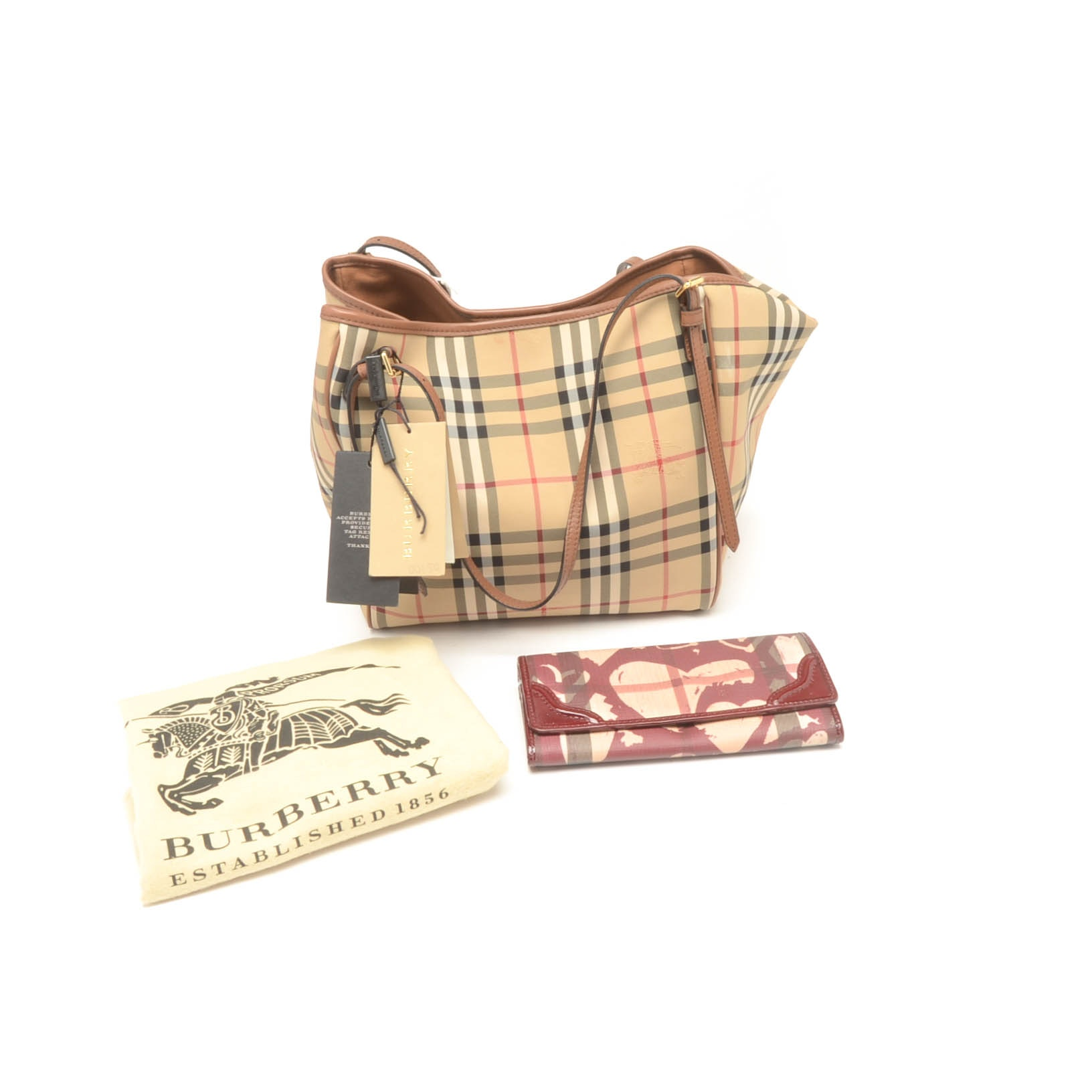 "Burberry ""Canter"" Horseferry Check Handbag and Wallet"