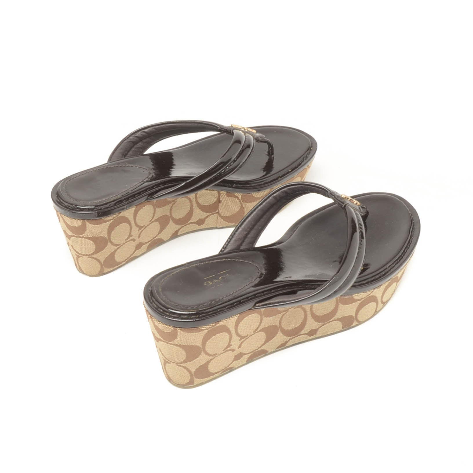 Coach Platform Black Patent Leather and Jacquard Canvas Sandals