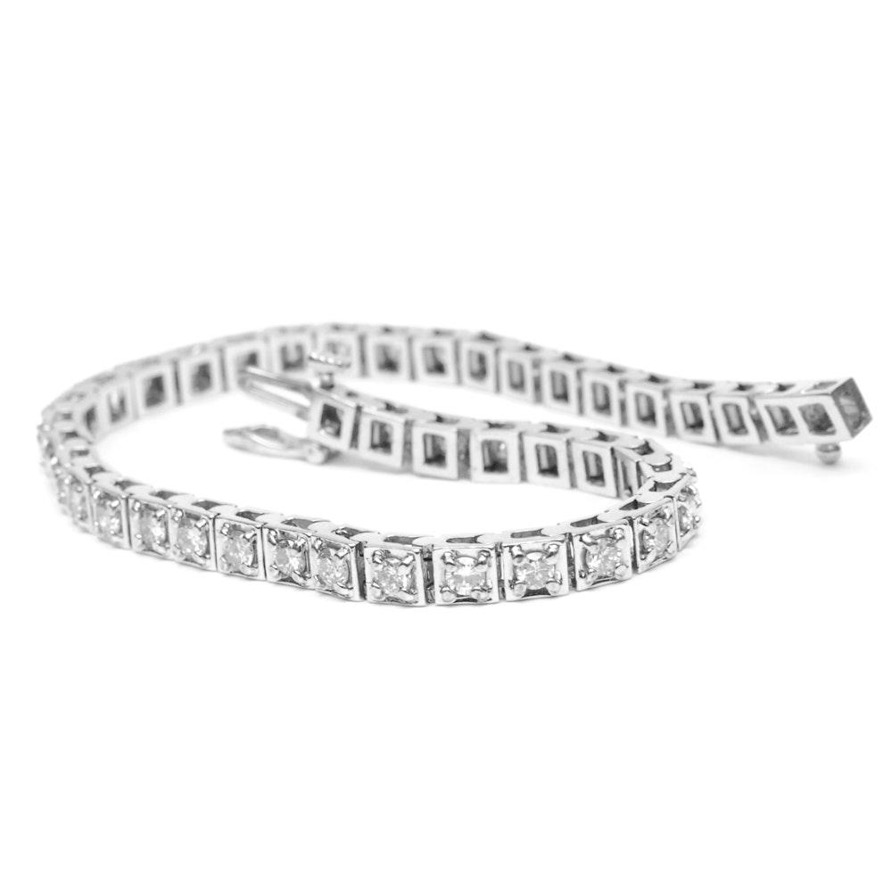 14K White Gold 2.58 CTW Diamond Tennis Bracelet