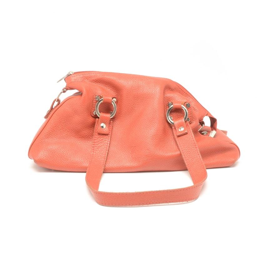 Cristina Italian Red Pebbled Leather Handbag Ebth