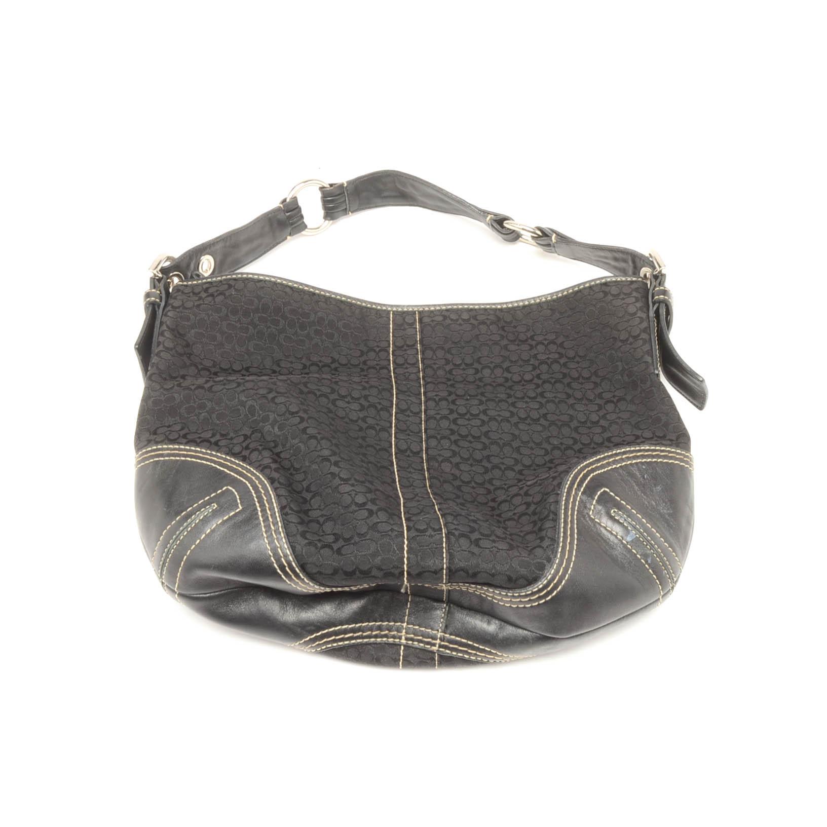 9dce5fff91e ... real coach mini signature jacquard and black leather hobo handbag a12f4  7cac2