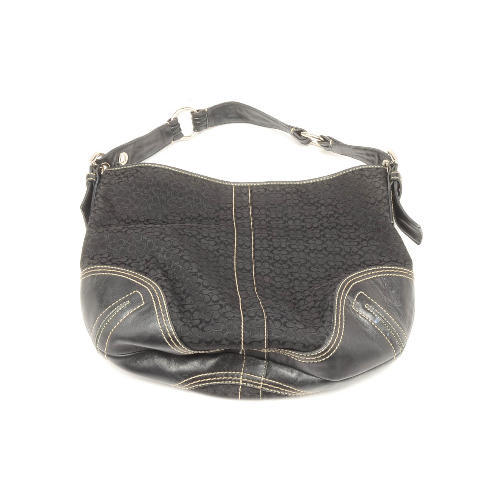 Coach Mini Signature Jacquard and Black Leather Hobo Handbag