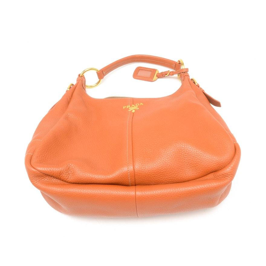 Prada Vitello Daino Hobo Leather Shoulder Bag   EBTH 2c5393a69178c