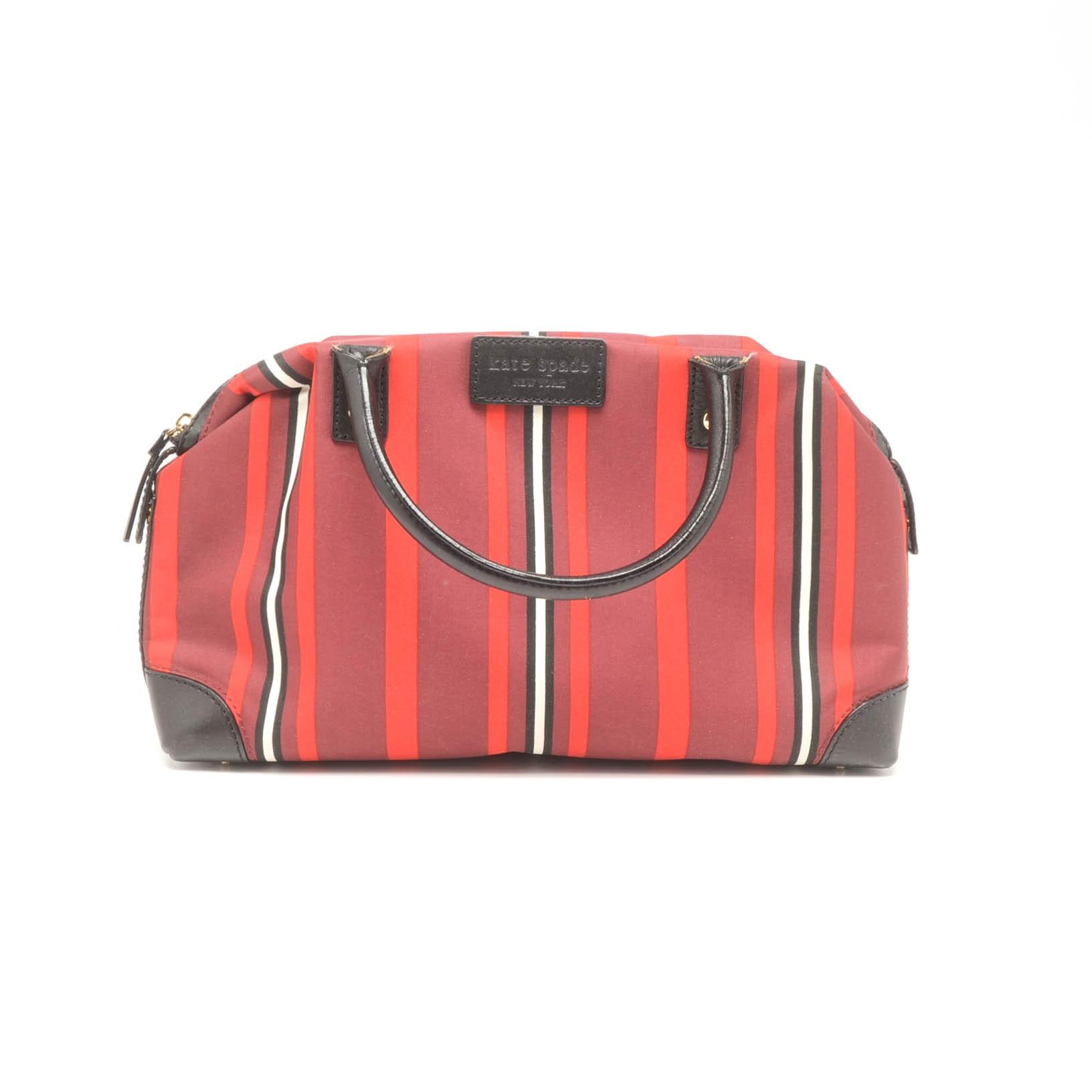 Kate Spade New York Nylon Stripe and Leather Handbag