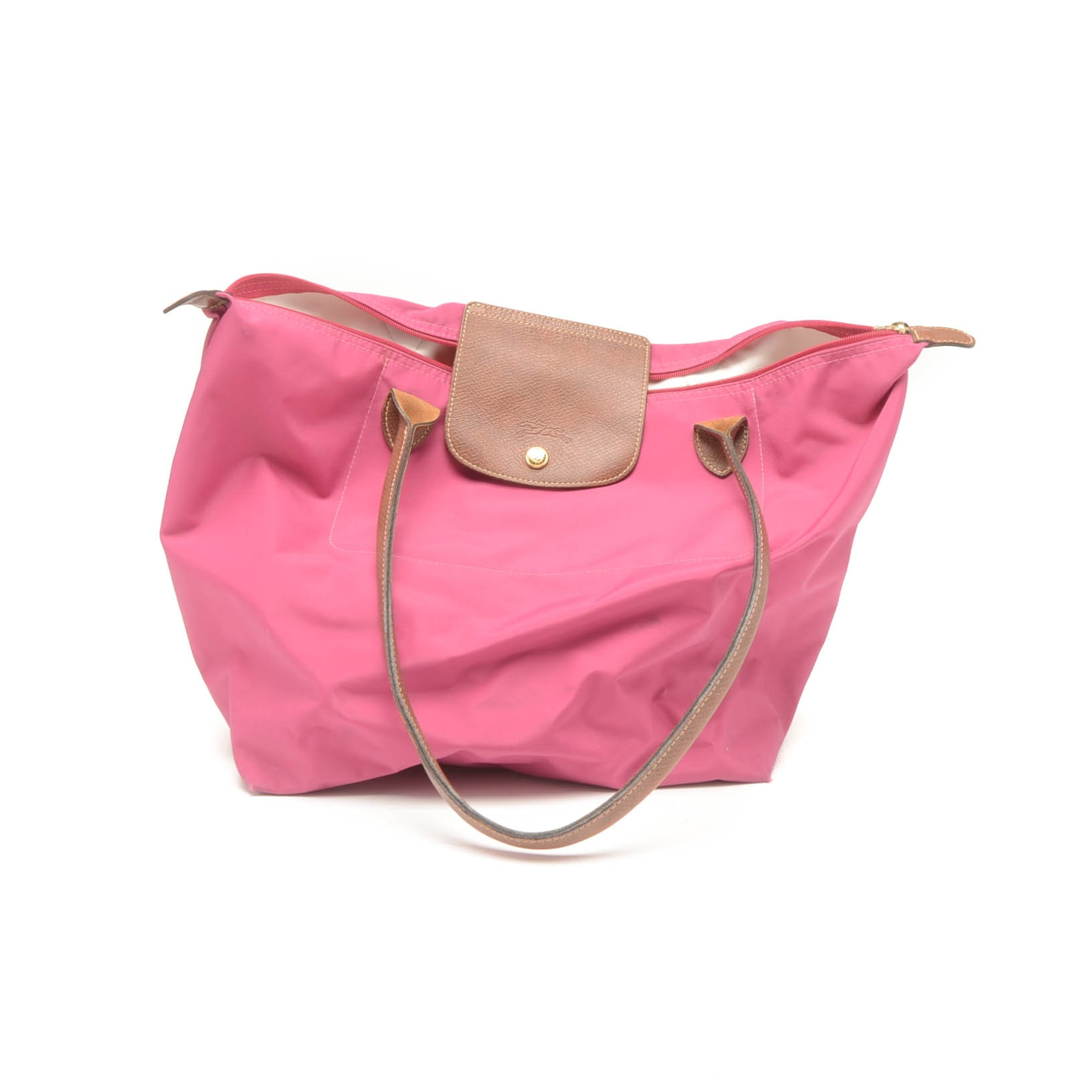 Longchamp Le Pliage Pink Nylon and Leather Tote
