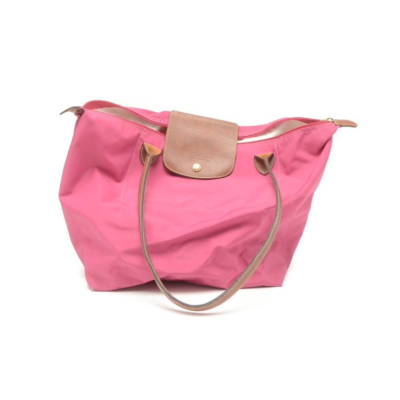 634a64fcb0e3 Longchamp Le Pliage Pink Nylon and Leather Tote   EBTH