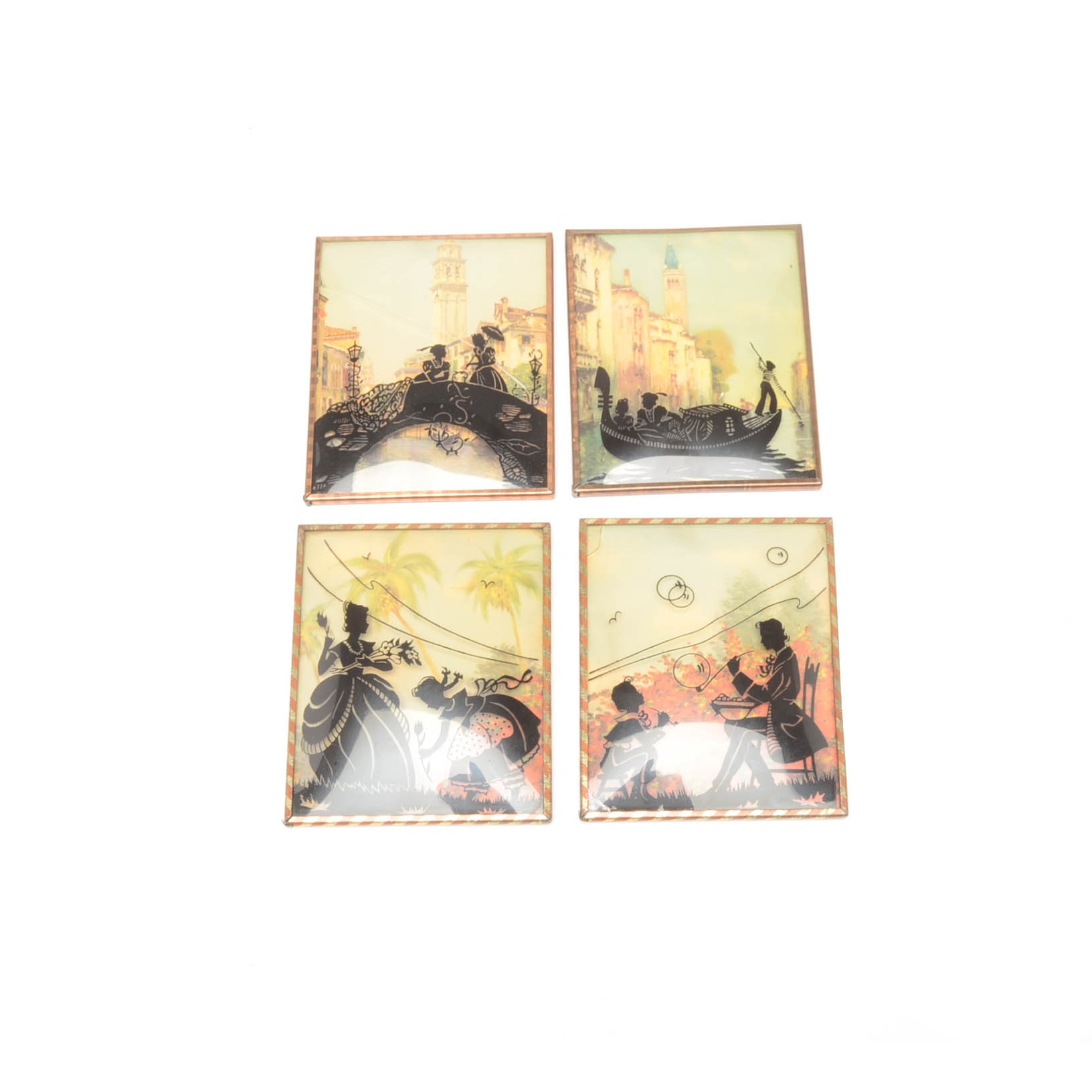 Collection of Vintage Small Offset Lithographs With Reverse Printed Glass