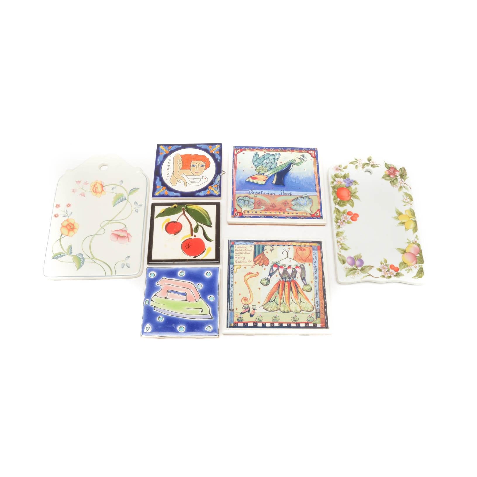 Seven Decorative Ceramic Trivets and Tiles