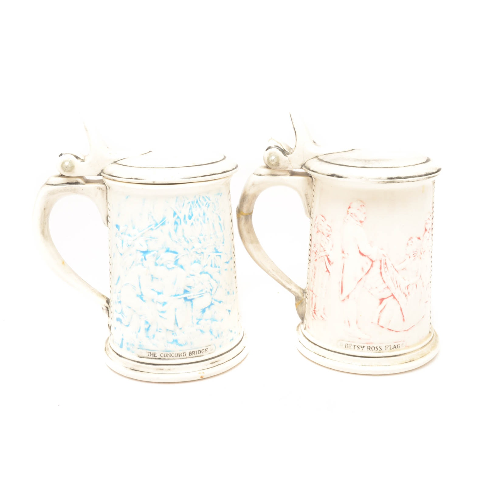 Pair of American Revolution Themed Steins