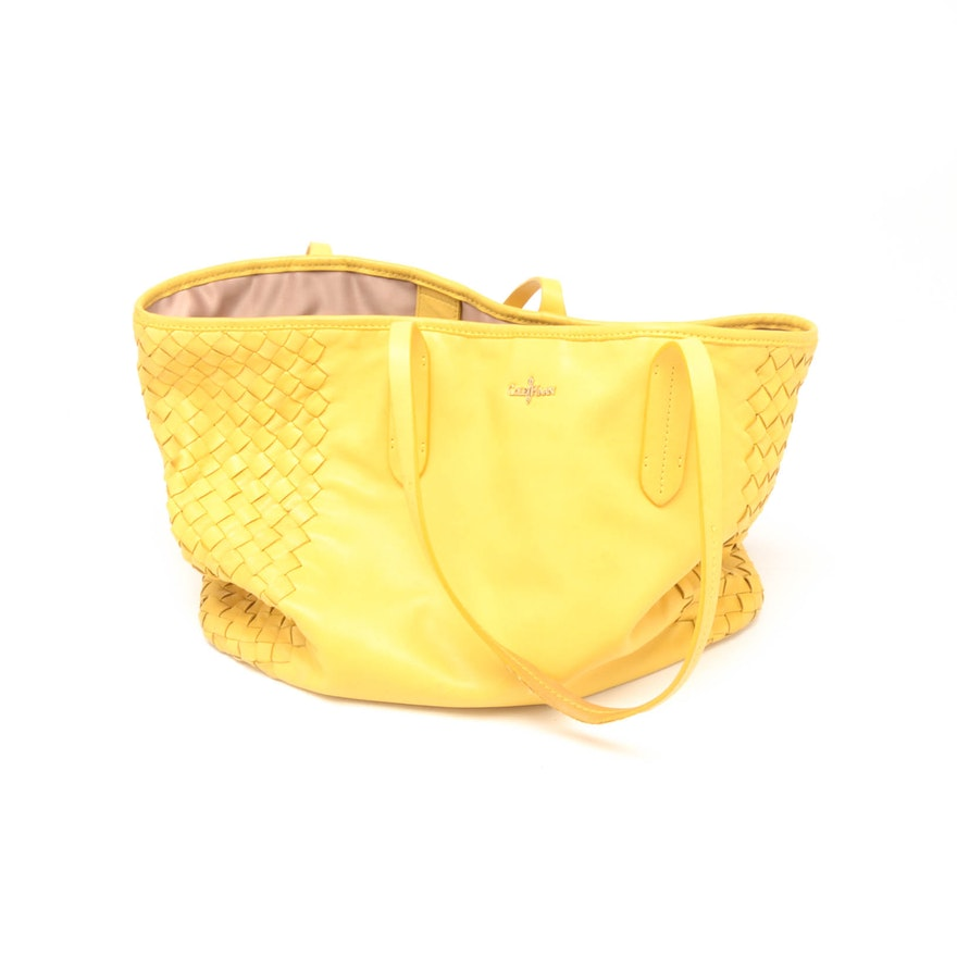 21f841f1482 Cole Haan Woven Yellow Leather Tote : EBTH