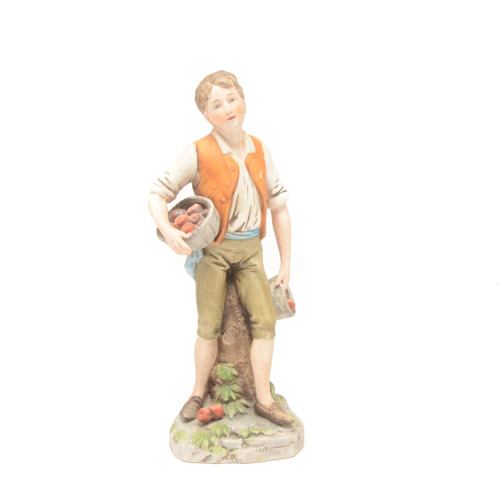 Vintage Ceramic Farmer Figurine by Homco