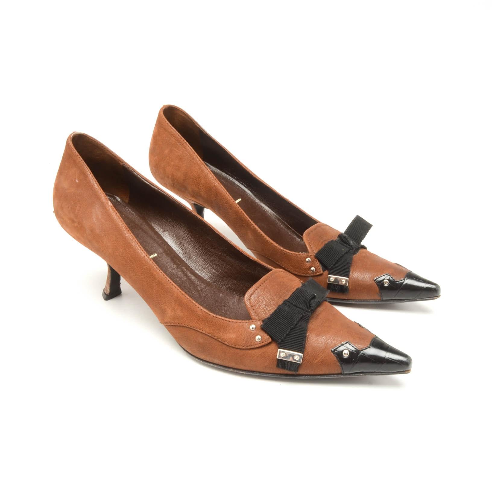 Prada Leather Kitten Heels