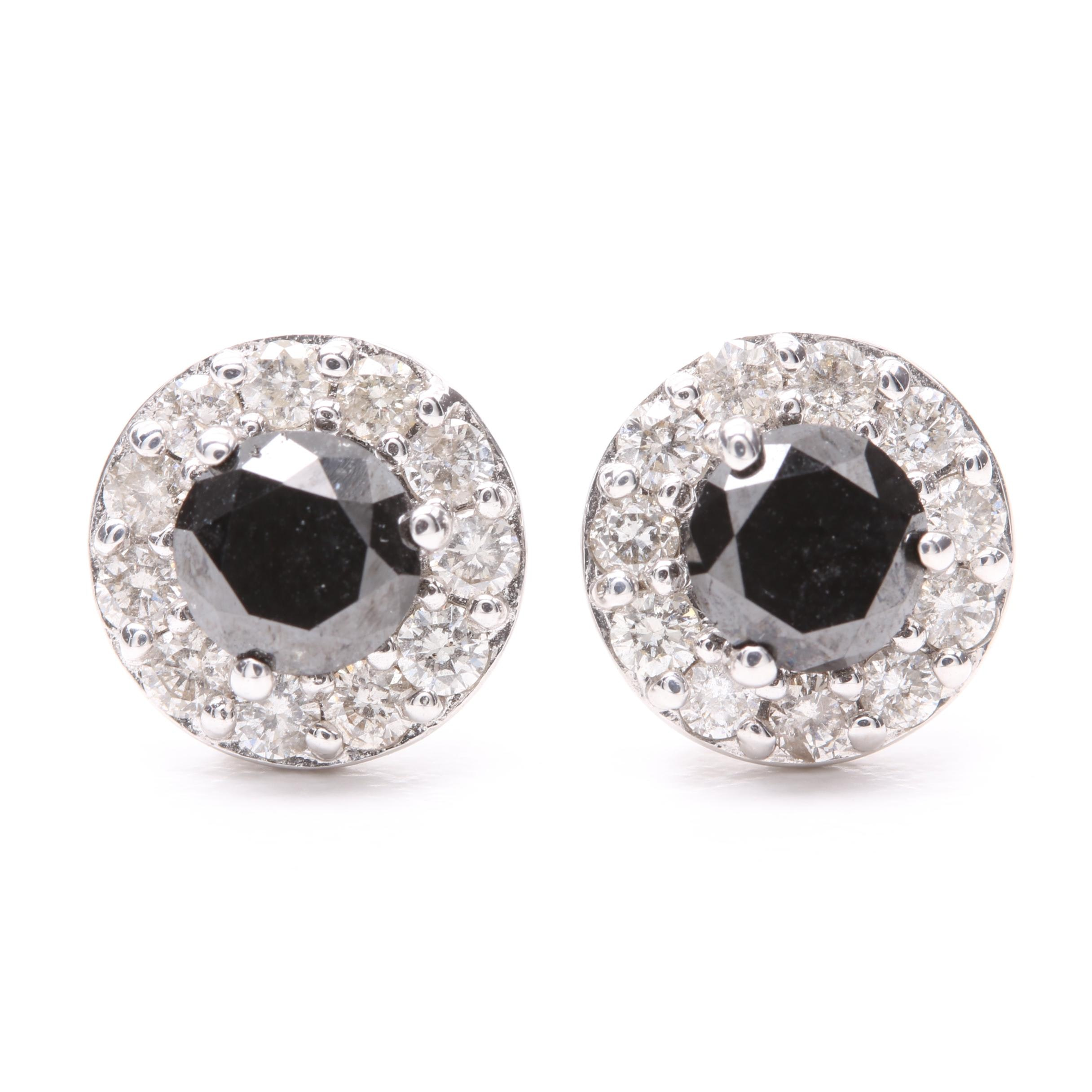 14K White Gold 1.70 CTW Diamond Earrings with Black Diamond Accents