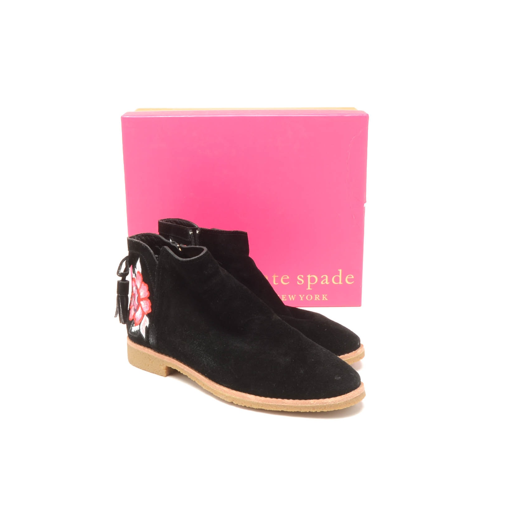 Kate Spade New York Bellville Black Suede Booties with Embroidered Roses
