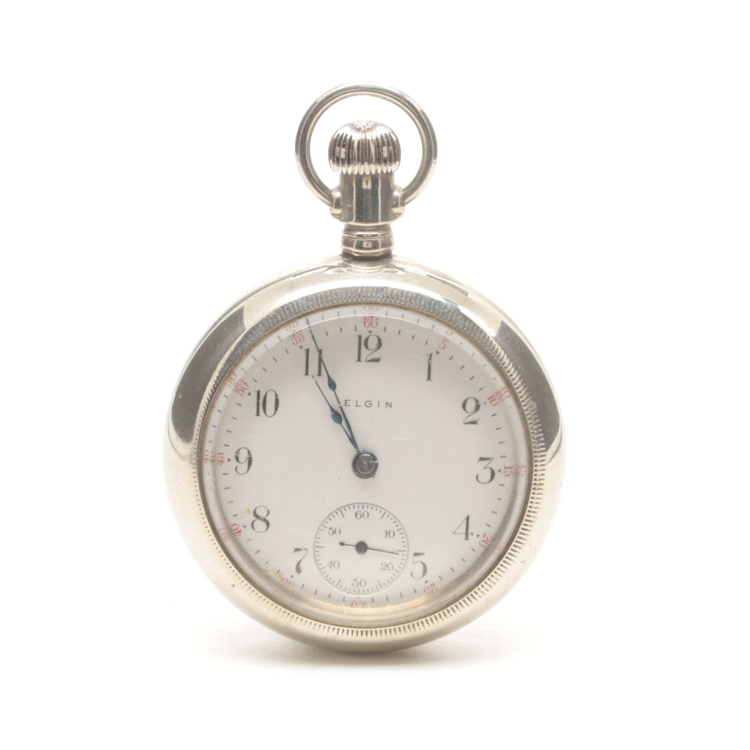 Antique Elgin Silverode Open Face Pocket Watch