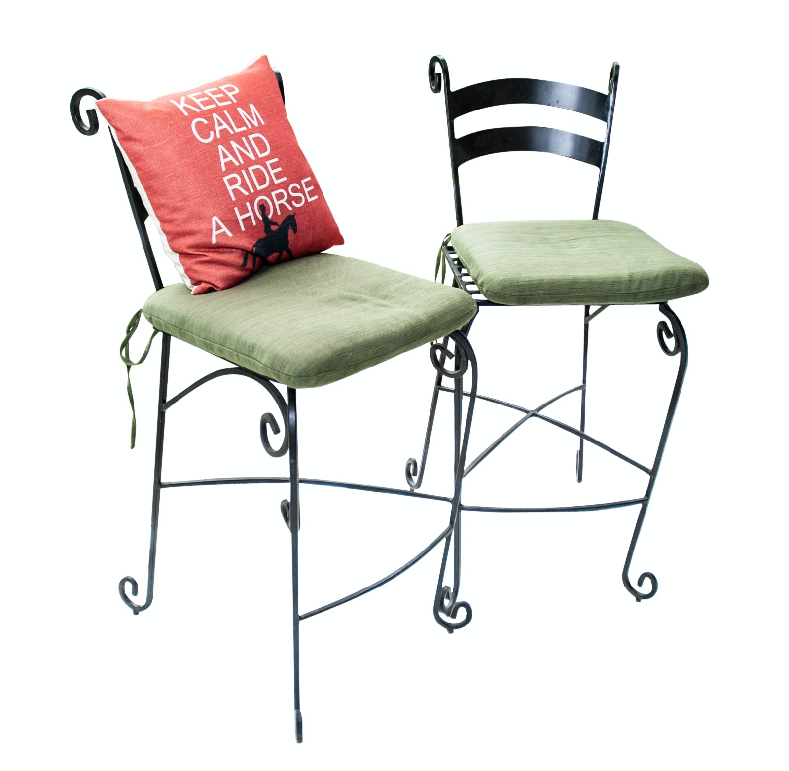 Two Wrought Iron Bar Stools