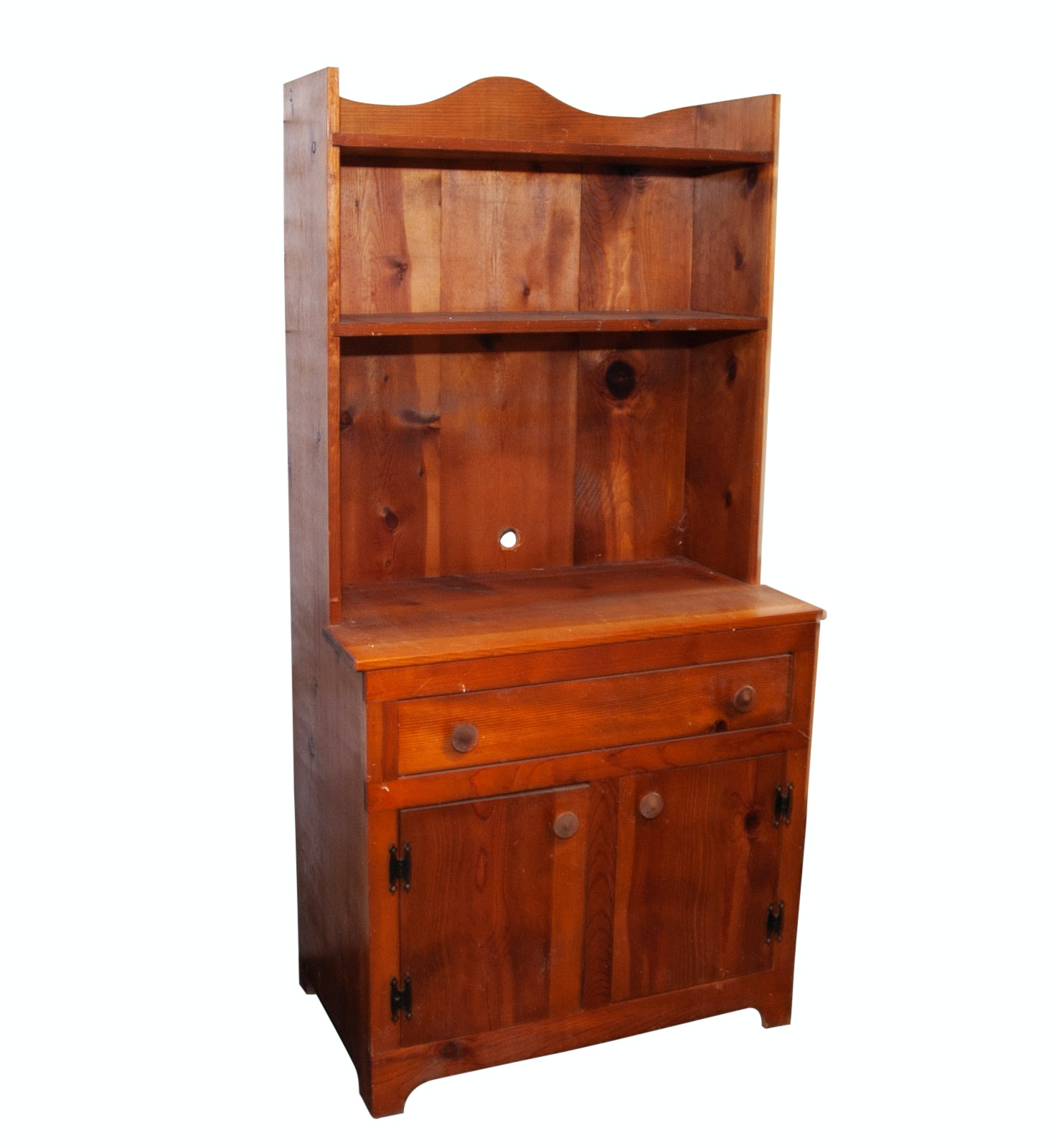 Pine Cabinet with Hutch