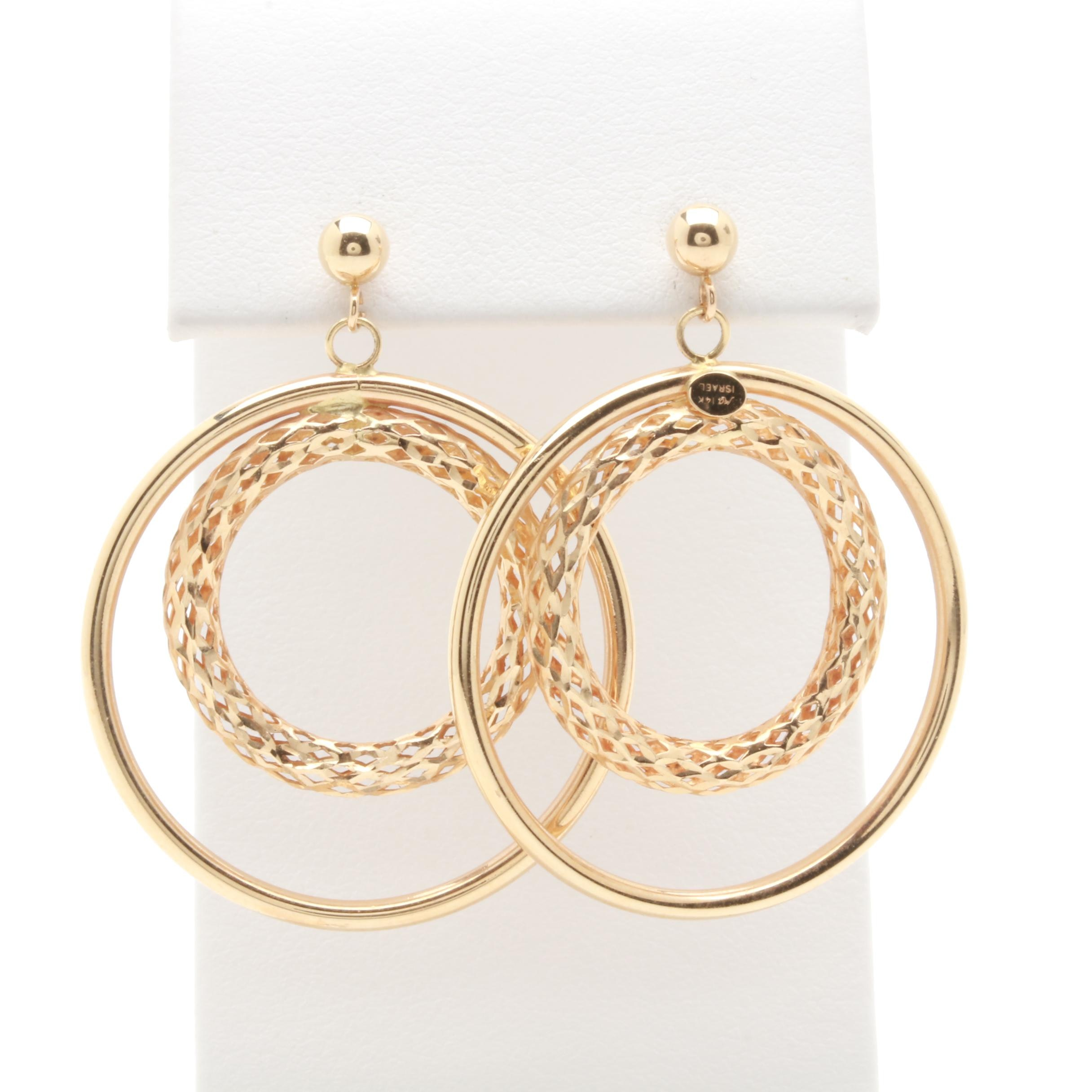 Michael Anthony 14K Yellow Gold Textured Circles Drop Earrings